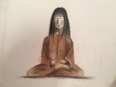 Mindfulness - Méditation en pleine conscience. Dry pastel draft - Pastel sec, ébauche. (Chris, photographe de Nice (French Riviera)) Tags: zen modernart pastel dessin