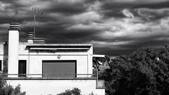 nouvelle vue (glookoom) Tags: bnw bw blackandwhite noiretblanc monochrome house white cloud sky outdoor tree whitehouse windows noperson architecture minimalism minimal landscape