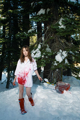 359/365 December 25, 2009 (laurenlemon) Tags: christmas portrait snow mountains girl interestingness blood boots creative 365 shovel conceptual 365days explored wouldnthaveitanyotherway december09 canoneos5dmarkii laurenrandolph laurenlemon nopantsinthesnow iaintevencold makingbloodonchristmasday wwwphotolaurencom