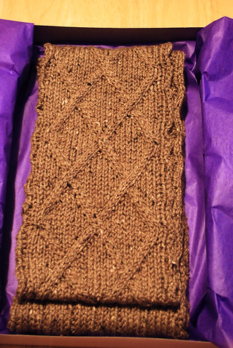 Crossing Diamonds Cabled Scarf