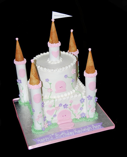 2 tier pink and purple princess castle cake - 1st birthday
