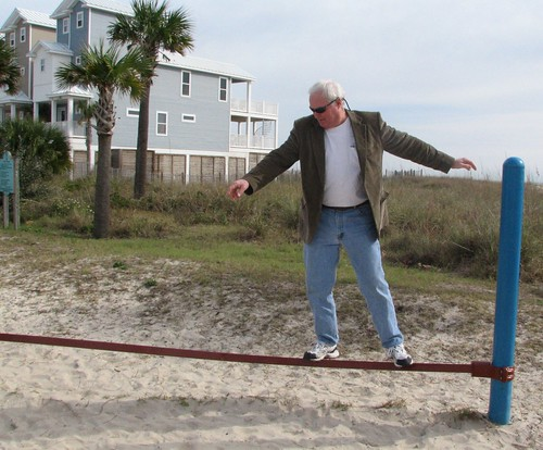 Dad on balance beam