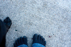 Matching Black Toes (madgiddy) Tags: feet unraveling vibram