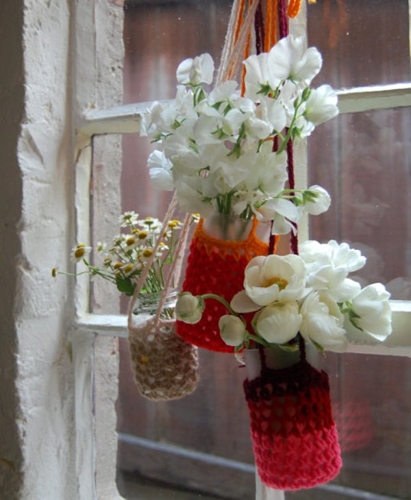 DIY Hanging flower vases and crocheted plant cozies