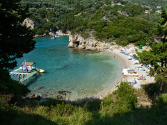 Paleokastritsa Bay (duqueros) Tags: wood blue sea green nature island bay coast meer europa europe view turquoise natur hellas insel greece grn blau aussicht corfu korfu kerkyra griechenland wald cypresses kste ioniansea bucht trkis paleokastritsa zypressen ionischeinsel southeasteurope ionianisland mywinners  sdosteuropa ionischesmeer  duqueiros