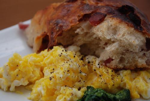 Mazzola Bakery lard bread, fresh market eggs, winter spinach