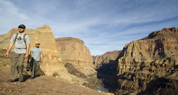 Hiking along the rim--a nice brake from oaring the rafts.