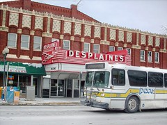 Westbound Pace bus on Miner Street passing the Desplaines Theatre. Desplaines Illinois. Febuary 2008.