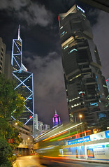 Skyscrapers, Hong Kong Central (Mo Baig) Tags: china city travel sunset skyline architecture night skyscraper hongkong nikon cityscape allrightsreserved hongkongisland bankofchina lippocenter 200905 lovelycity nikond40x sigma18200mmoshsm arethesebuildings mobaig