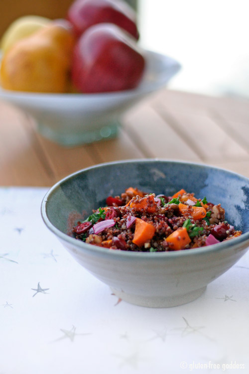 Red Quinoa with Roasted Butternut Squash, Cranberries and Pecans Recipe