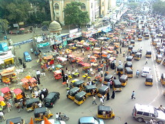 Old City (Rahul Ravi) Tags: lighting india monument architecture nokia ancient awesome vehicles ap hd hyderabad 7210 birdseyeview oldcity charminar nizam aboveall stonemaarket