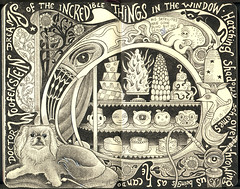 The Damned: Dr. Woofenstein (black and white version) (pageofbats) Tags: art moleskine cake illustration ink lyrics journal dream fanart pekingese octopus nouveau thedamned cyclopskitten kiplingwest oozeit