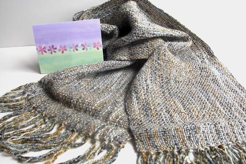 gift from Sharon, her first woven scarf!