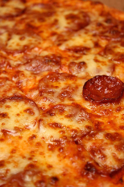 Pepperoni pizza - loads of mozzarella cheese and beef pepperoni