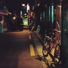 2050/1716^:z] (june1777) Tags: snap street seoul chungmuro night light bicycle mamiya 645 mamiya645 carl zeiss jena czj biometar 80mm f28 kodak portra 800 square crop v0 pro tl f