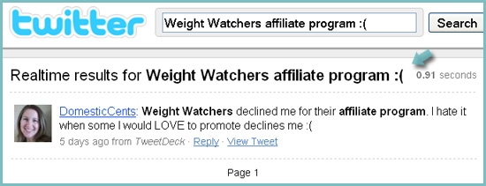 Search for affiliate program reviews: Twitter
