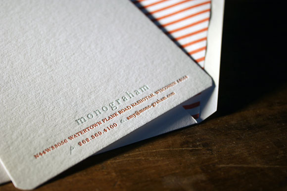 Custom Letterpress Invitations for Monograham Open Studio Event