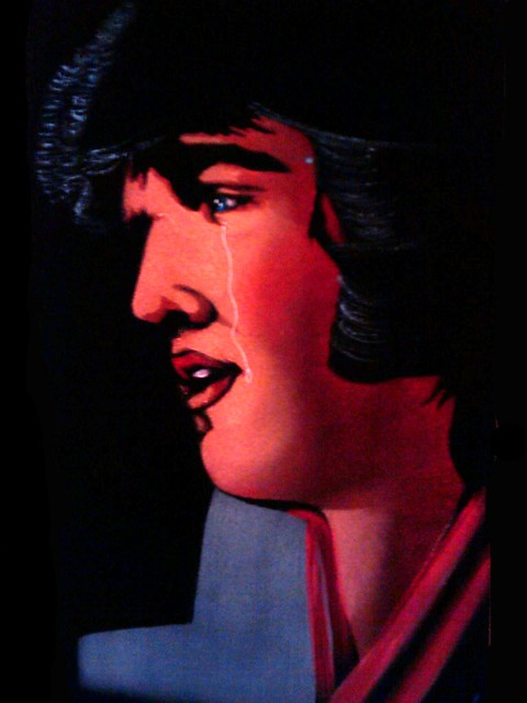 Velvet Painting: a Crying Mexican Velvet Elvis by Zenon | eBay