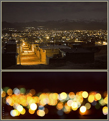 City (seyed mostafa zamani) Tags: street city houses windows roof winter light sky mountain snow cold color ice home night dark alley iran bokeh sleep gray soil silence iranian 88 boke range height          azarbayjan marand  cameramodel