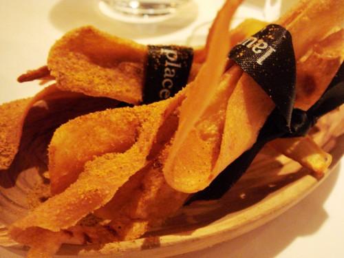 Devilled parsnip crisps
