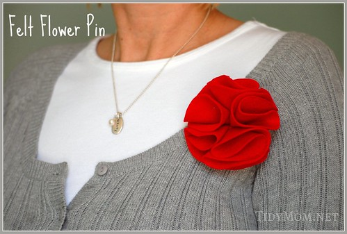 Felt Rosette Flower Brooch Tutorial by Tidy Mom
