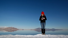Salt Flats, covered in water and snow. (laurenlemon) Tags: travel me rolleiflex reflections interestingness photographer roadtrip saltlakecity sundance 2010 explored canoneos5dmarkii laurenrandolph laurenlemon fromparkcitytoreno