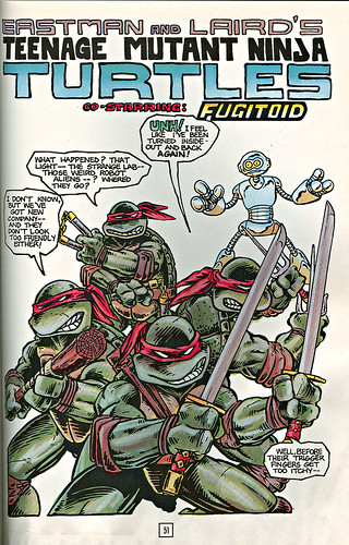 Teenage Mutant Ninja Turtles - BOOK II.. pg.51 { Colour version of Teenage Mutant Ninja Turtles v.1 #5 } .. art by Eastman, Laird, colour by Lavigne (( 1987 ))
