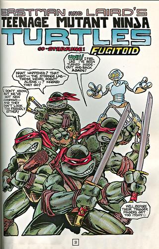 Teenage Mutant Ninja Turtles - BOOK II.. pg.51 { Colour version of Teenage Mutant Ninja Turtles v.1 #5 } .. art by Eastman, Laird, colour by Lavigne (( 1987 ))