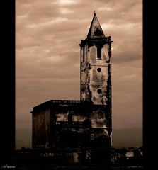 Iglesia abandonada en Cabo de Gata (Al-meria) Tags: sepia de cabo torre iglesia nubes gata ermita misterio