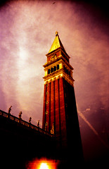 Piazza San Marco (Rolf F.) Tags: italien blue venice sky italy film church saint st architecture clouds analog 35mm canon square interestingness interesting lomo lca xpro lomography italia fuji cross basilica platz churches lomolca scan marks explore negative velvia processing fujifilm 100 analogue piazza 135 fujichrome venezia processed venedig canoscan markus stmarks sanmarco rvp 100f markusplatz 8800 8800f autaut fujichromevelvia100frvp
