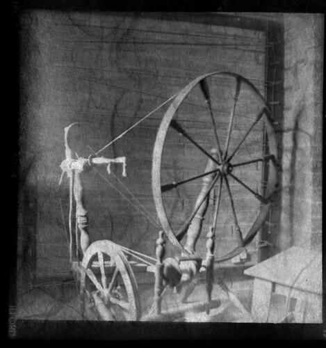 spinning wheel and loom- Tubac Presidio Historic State Park, Tubac, Arizona USA
