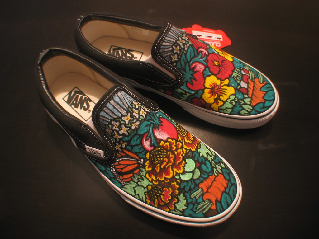 a4849259dc74 Garden Custom Vans Slipons (tonyxprice) Tags  illustration garden paint  fabric marker vans custom