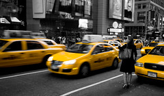 Still Not Enough (Michael Rugosi) Tags: new york city woman beautiful yellow downtown traffic manhattan cab taxi newyorktripfriends