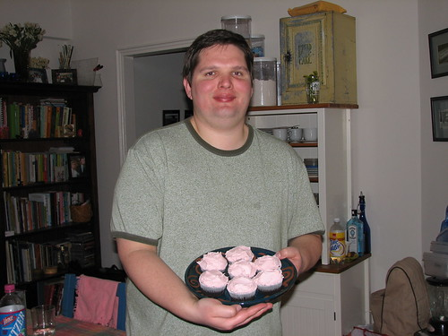 grant with his cupcakes