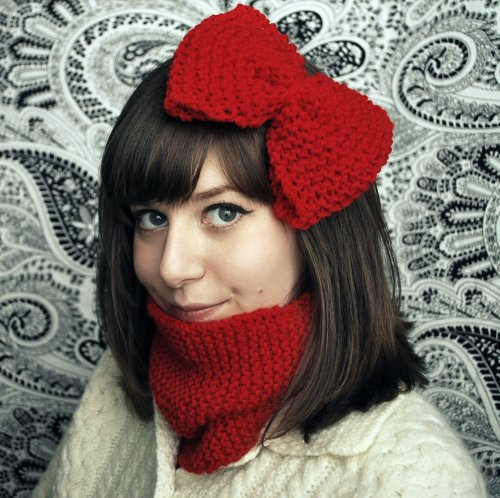 DIY: Hand Knit Bow and Neck Warmer