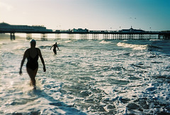roll on the summer! (lomokev) Tags: morning sea beach silhouette sport swimming swim pier nikon brighton kodak silhouettes swimmers brightonpier palacepier nikonos ektar deletetag nikonosv nikonos5 kodakektar100 nikonosfive roll:name=090724nikonosvektar かいがんg file:name=090724nikonosvektar39