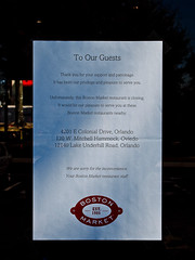 Boston Market Out-of-business Notice