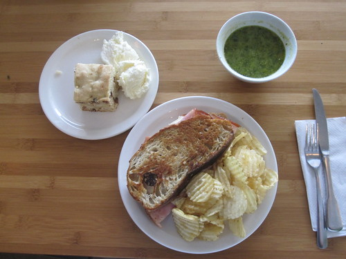 Hame croque, chips, soup, cake with ice cream - birotr - $6