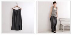 (( PINK-YA )) * C61015341 * 快速到貨˙優雅小品˙假一片裙彈性棉褲裙˙深灰色 380