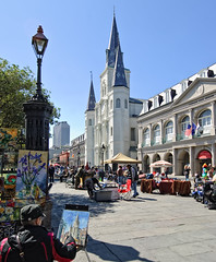 Painting the Cathedral (Bruce Bordelon) Tags: new church lamp st painting french louis nikon orleans louisiana artist cathedral steeple quarter nola d200 nikkor f28 vendors 1424mm