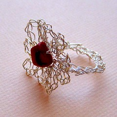 Silver & Coral Flower Ring - RAD2010 #46 (KnittingGuru) Tags: flower coral silver oneofakind crochet jewelry ring wirecrochet knittingguru coralbead silverplatedwire rad2010 ring46 created22810