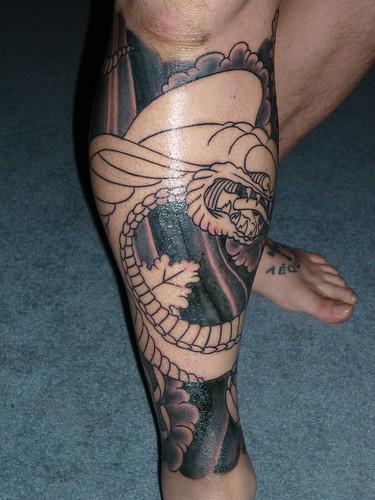 Cobra & Chrysanthemums Leg Sleeve Tattoo