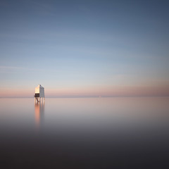 Lighthouse Dawn (Adam Clutterbuck) Tags: uk greatbritain morning sea england lighthouse seascape cold colour beach square dawn wooden seaside high unitedkingdom tide somerset calm severn gb simple sq col tranquil stilts oe burnham burnhamonsea greengage adamclutterbuck showinrecentset openedition