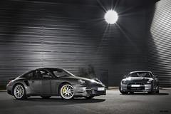 Porsche 911 Turbo vs. Nissan GTR (Tex Mex (alexandre-besancon.com)) Tags: paris france car yellow skyline night grey photo industrial photographie nissan 911 picture turbo porsche photoraphy brakes mk2 rims supercar gtr pccb pdk