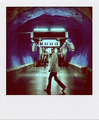 #26 (tsienni) Tags: street city blue urban man motion blur station dark subway movement mood traffic metro sweden stockholm earth candid transport under central swedish eerie creepy spooky psycho passenger moment decisive tunnelbana tcentralen bllinjen lasauvette thedefiningtouch polaroin deftouch