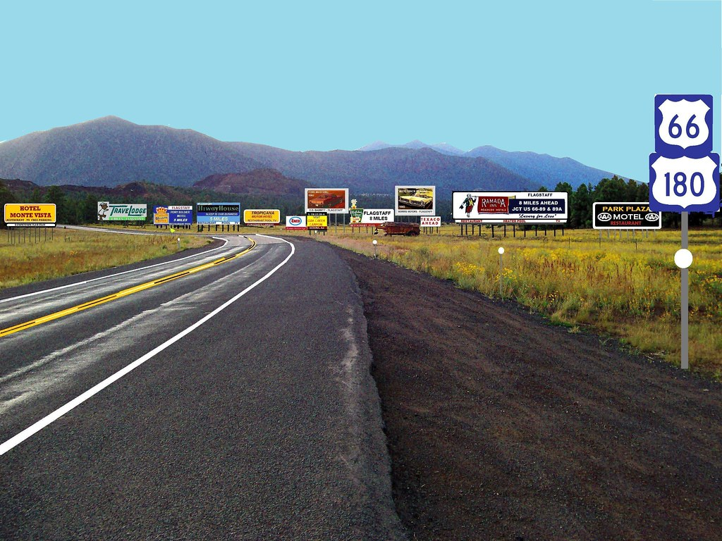 Re-created highway scene on U.S. 66 east of Flagstaff, ca. 1965