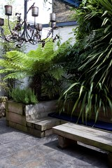 The Outside Room Garden by Earth Designs. www.earthdesigns.co.uk. London Garden Design and landscape build. (Earth Designs - Garden Design and Build) Tags: city urban plants plant green gardens garden town bed view beds recycled timber space small courtyard evergreen views slate seating spaces raised reclaimed sleepers treeferns woodwooden patternedimprintedconcrete rossiterroadstory