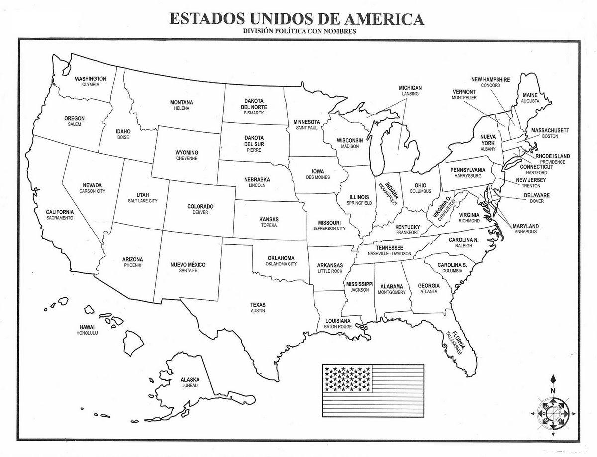 Mapa De Estados Unidos Con Nombre