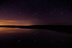 Narcissistic Orion (Fort Photo) Tags: longexposure light sky lake reflection nature night stars star pond nikon exposure open nightscape space wide science tokina reflected astrophotography sirius orion astronomy sevensisters 2010 lightpollution d300 starscape widefield starcluster platinumphoto bratanesque pleiadesstarcluster tokina1116 messierobject45