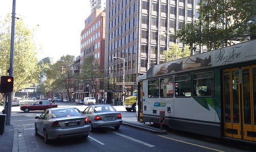 King/Bourke Sts - tram waits for lights